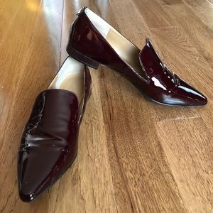 "Calvin Klein ""Elin"" OXBLOOD Patent Leather Loafers"